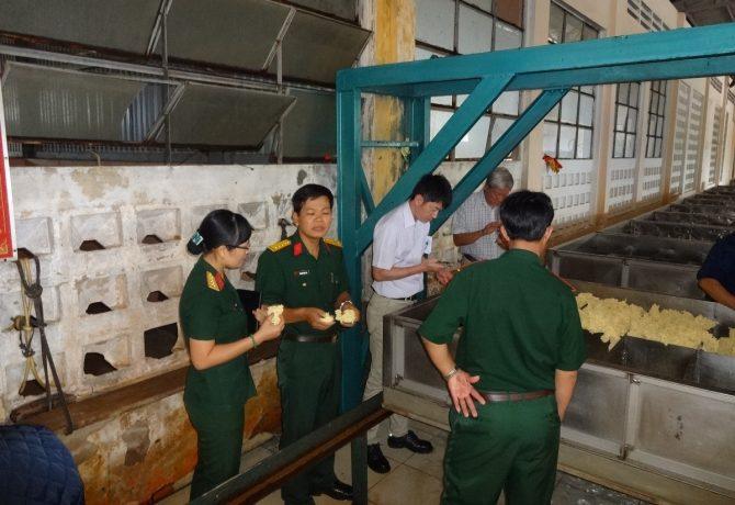 ベトナム軍経営の天然ゴム工場内