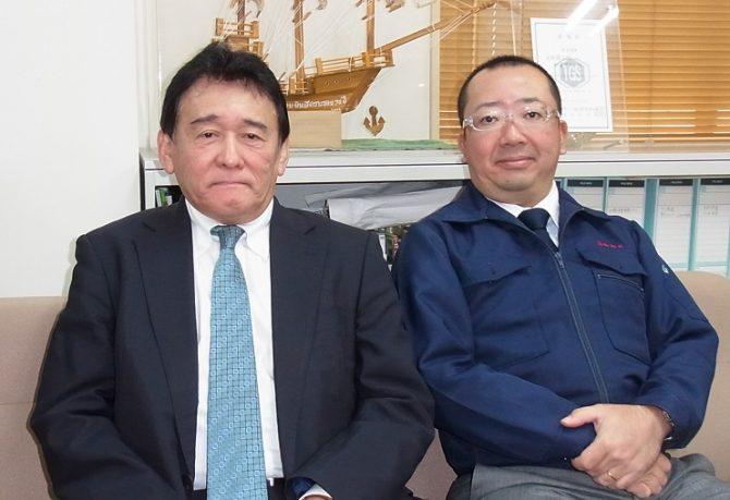 新会社設立を説明する加藤日加商工社長㊨と前原日加R&E社長